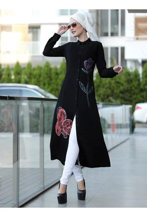 Çiçek Desenli Tunik - Siyah - Selma Sarı Design