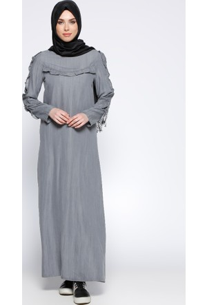 Fırfırlı Tensel Kot Elbise - Gri - Neways