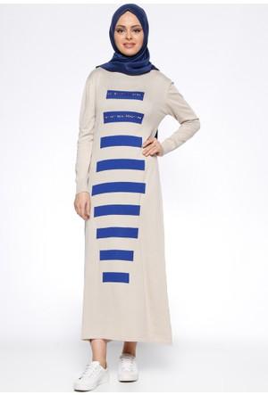 Uzun Mevsimlik Elbise - Bej - Zentoni