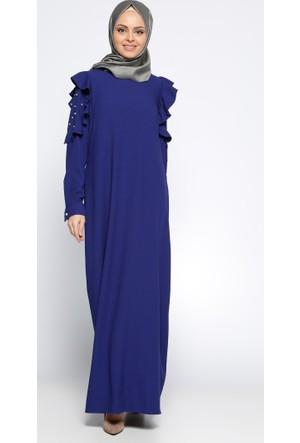 Kolları Volanlı Elbise - Saks - CML Collection