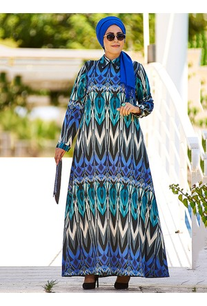 Geotmetrik Desenli Elbise - Mavi Gri - Nesrin Emniyetli