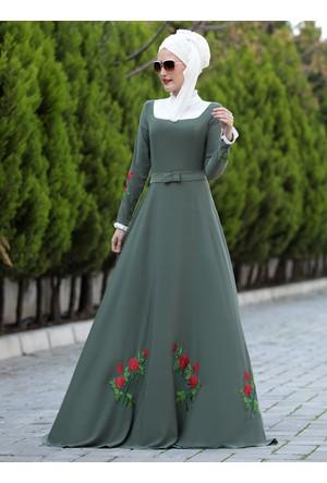 Gül Elbise - Haki - Selma Sarı Design