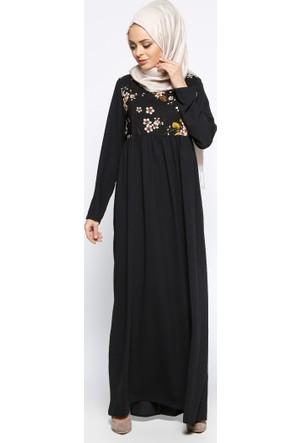 Çiçek Desenli Elbise - Siyah Yeşil - Tuncay