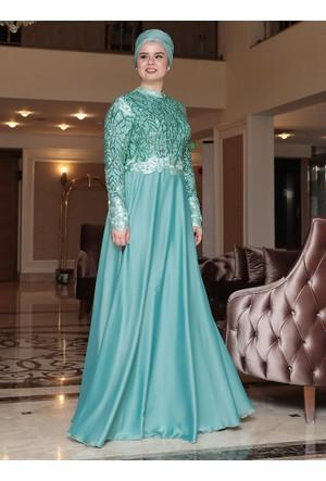Sırma Abiye Elbise - Mint - Saliha