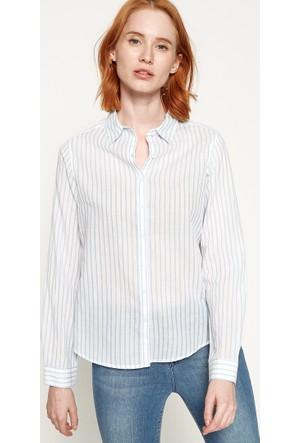 Çizgili Gömlek - Mavi Beyaz - Koton
