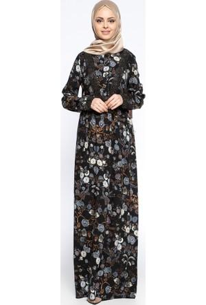 Desenli Elbise - Siyah - Ginezza