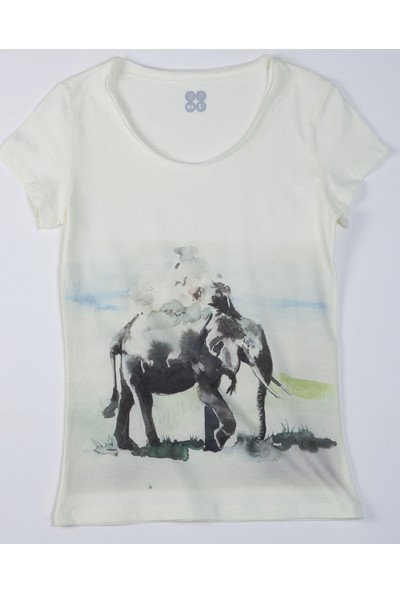 Mumu Fil - Pınar Ergün Tasarımı Geniş Yaka Kadın T-Shirt