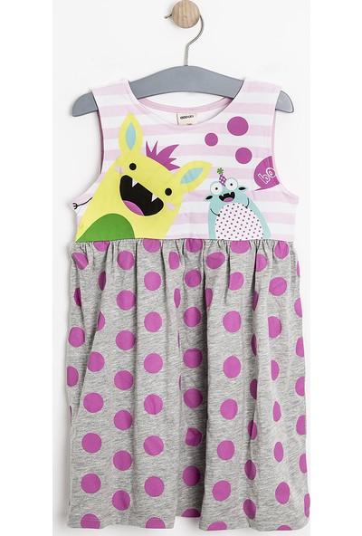 Soobe Kız Çocuk Elbise Gri Melanj