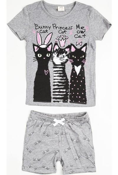 Soobe Pop Girls Kız Çocuk T-Shirt Şort Set Gri Melanj