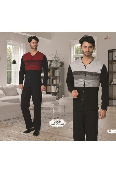 Mecit Jakarlı Önden Düğmeli Erkek Pijama Takımı