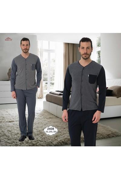 Mecit Ekose Desen Jakarlı Erkek Pijama Takımı