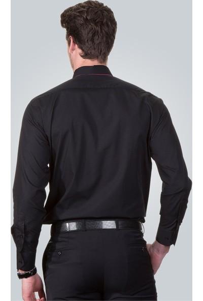 Tudors Klasik Fit Gömlek Siyah Cotton Saten