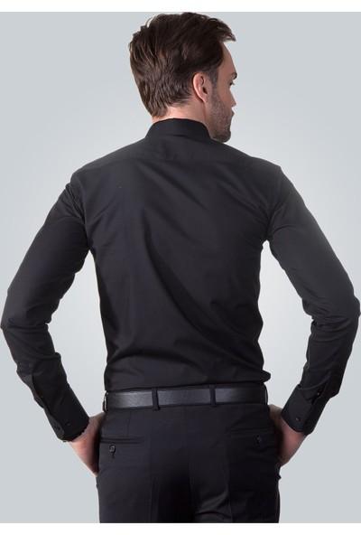 Tudors Dar Kesim Gömlek - Siyah Cotton Saten