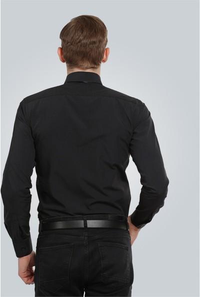 Tudors Dar Kesim Gömlek - Siyah Terycotton