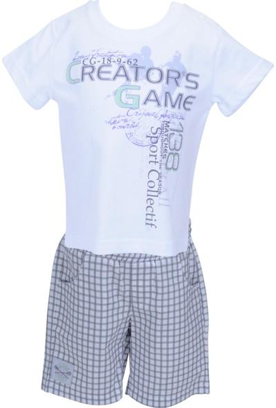Zeyland Erkek Çocuk Beyaz T-shirt + Şort Takım - 71M1YSF77