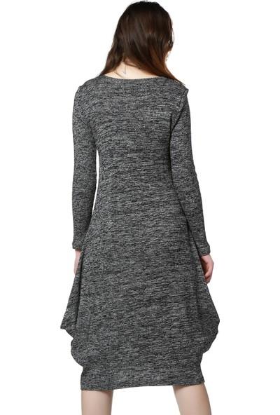 Bcfemm Siyah Beyaz Kırçıllı Uzun Triko Elbise
