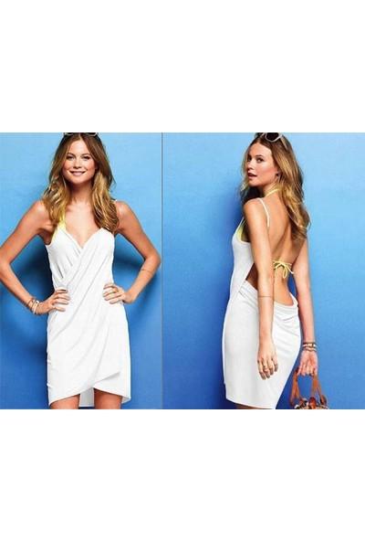 Toptancı Kapında Pareo Plaj Elbisesi - Beyaz