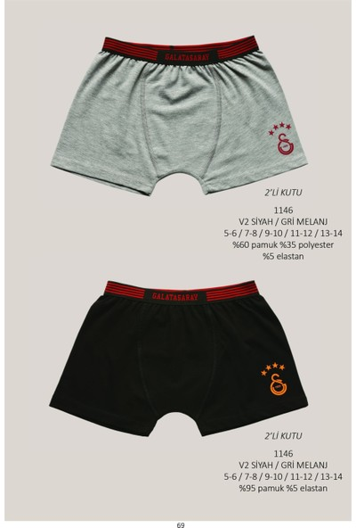 Roly Poly Galatasaray Lisanslı Çocuk 2'li Logolu Boxer