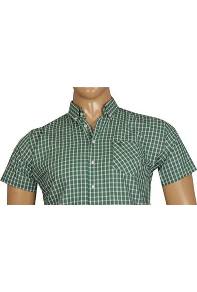 Fala Jeans Büyük Beden Kısa Kol Gömlek - Yeşil
