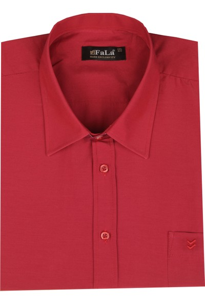 Fala Jeans Büyük Beden Kısa Kol Düz Gömlek - Kırmızı