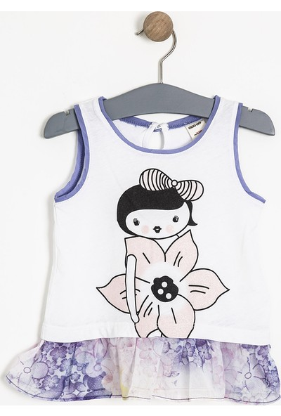 Soobe Monets Garden Kolsuz Fırfırlı T-Shirt Beyaz