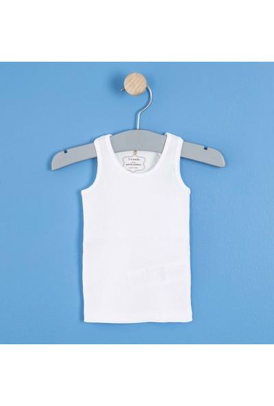 Soobe Kız Bebek Kolsuz T-Shirt Beyaz