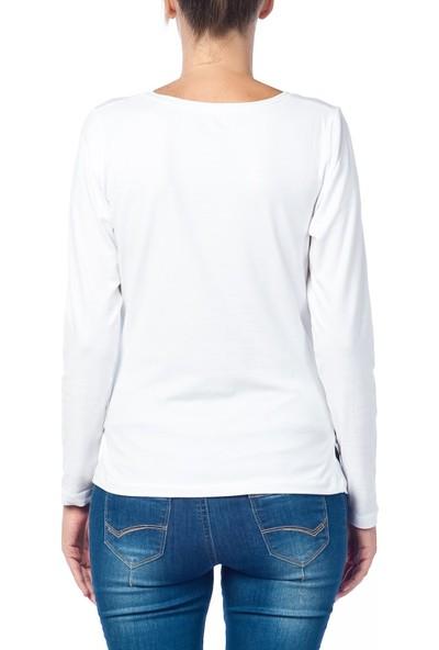Gör&Sin Casual Pencereden Bakan Uzun Kollu Hamile T-Shirt Beyaz