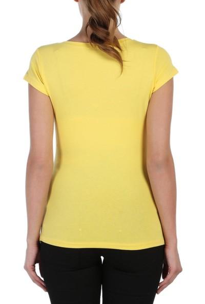 Gör&Sin Casual Pencereden Bakan Bebek Baskılı Hamile T-Shirt Sarı