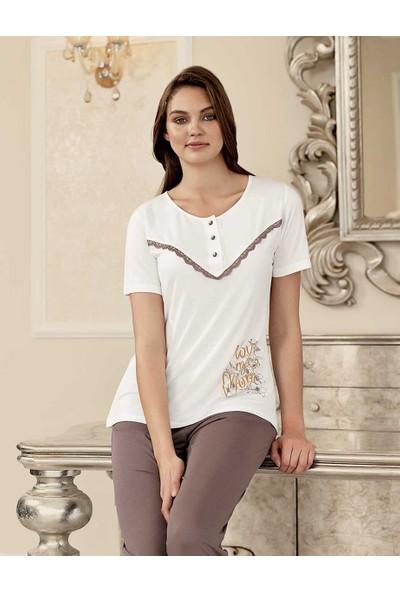 Şahinler Baskılı Kadın Pijama Takımı Beyaz MBP23404-1