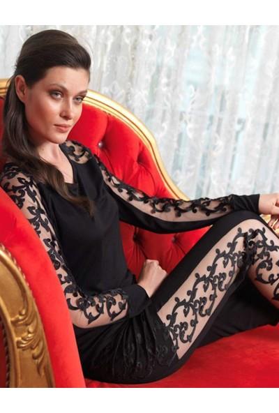 Şahinler Dantelli Kadın Pijama Takımı Siyah MBP23434-1