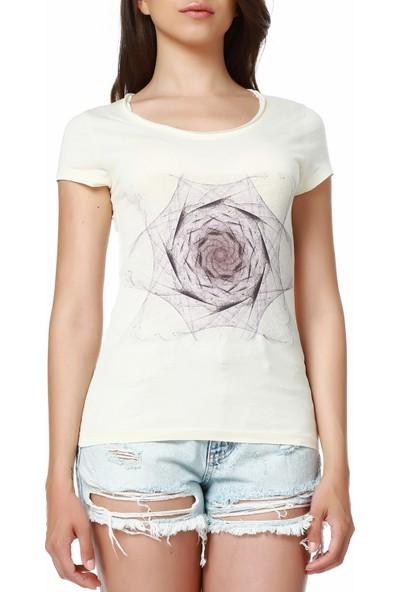 Mumu Flower Geniş Bisiklet Yaka Tasarım Kadın T-Shirt
