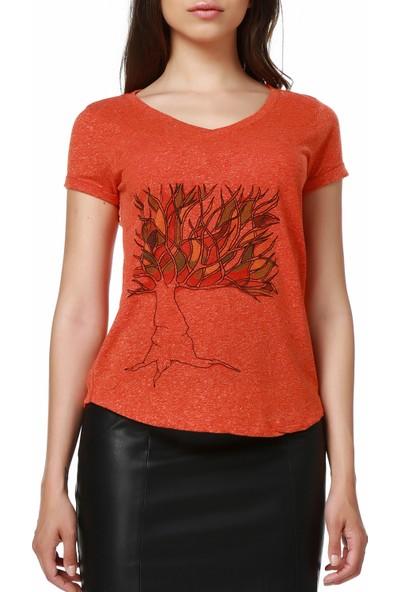 Mumu Tree of Life - Soydan Aydoğdu Tasarımı Turuncu Kadın V Yaka T-Shirt