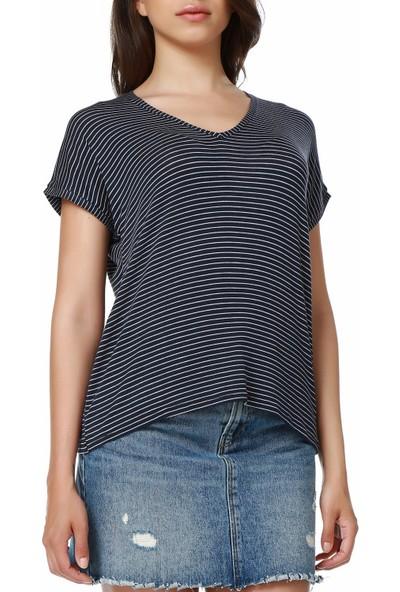 Mumu Lacivert Beyaz Çizgili Basic V Yaka T-Shirt