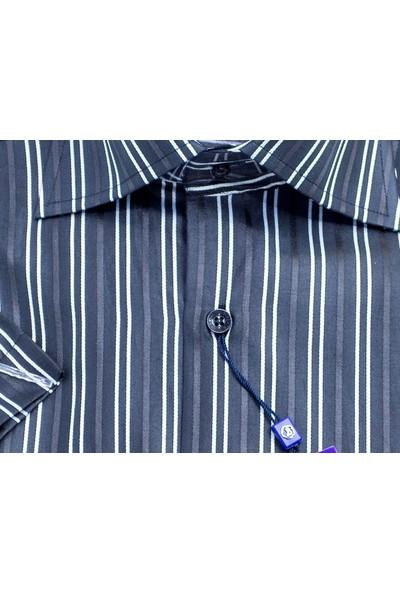 Bisente Pamuklu Erkek Gömlek Düz Kısa Kollu 42054
