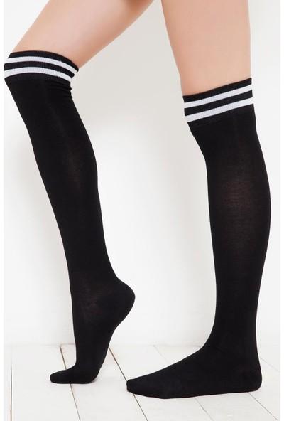 Brgoetti Siyah Diz Üstu Diana Bambu Çorap