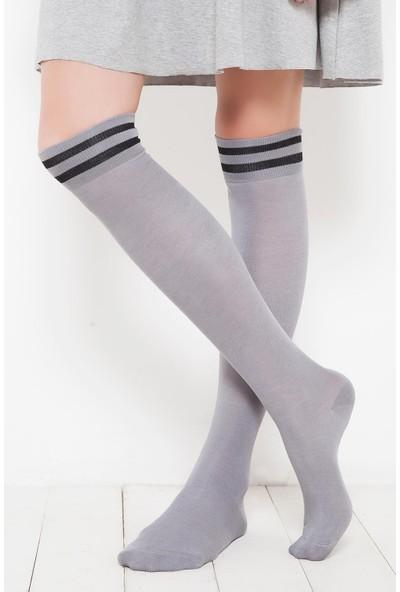 Brgoetti Gri Diz Üstu Diana Bambu Çorap