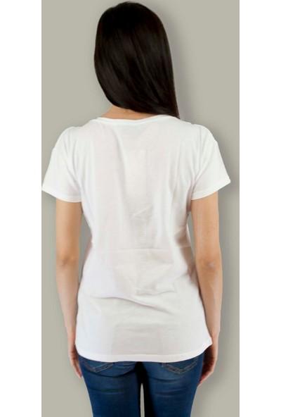 Pınk Apple Kadın Resimli Taşlı Tshirt