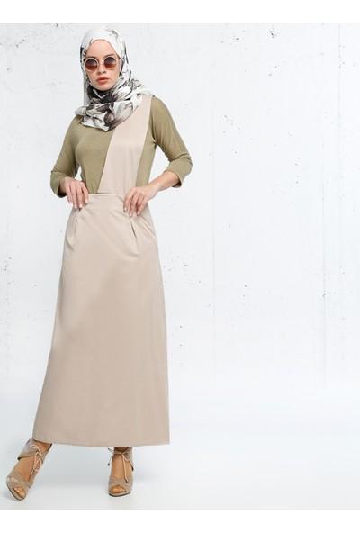 Salopet Elbise - Bej - Refka