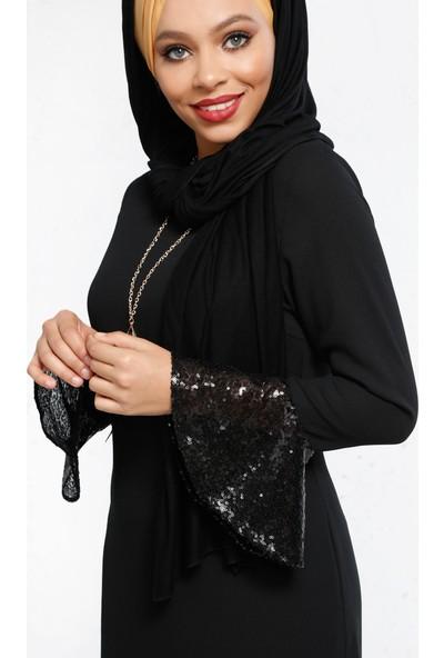 Kol Ucu Volanlı Elbise - Siyah - Refka