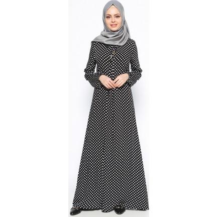 42b64b7334e91 Puantiyeli Elbise - Siyah - Ginezza Fiyatı - Taksit Seçenekleri