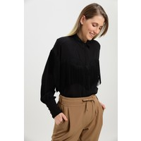 Pua Fashion İtalyan Siyah Püskül Detay Kadın Gömlek