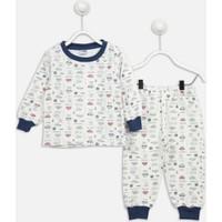 Modakids Beyaz Araba Desenli Erkek Çocuk Pijama Takımı