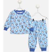 Modakids Mavi Penguen Desenli Erkek Çocuk Pijama Takımı