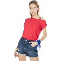 Lela Tek Omzu Etnik Şeritli Kadın T-Shirt 5202796