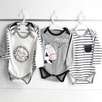 Bebegen İnek İle Kuzu 3 Parça Body Zıbın Set