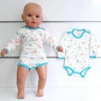 Bebegen Turkuaz Biyeli Turuncu Ayıcıklı Uzun Kollu Omuzdan Ve Alttan Çıt-Çıtlı Bebek Body Zıbın