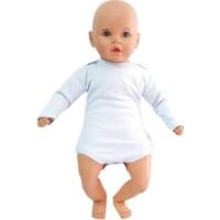 Bebegen Mavi Sade Uzun Kollu Alttan Çıt-Çıtlı Body Zıbın