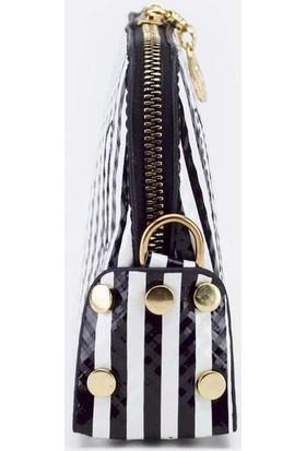 Voo Siyah Beyaz Zebra Çizgili Askılı El Çantası