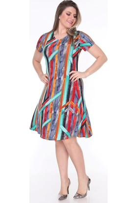 Nbb Yazlık Çizgili Desenli Kadın Elbise