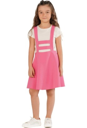 Zekids Kız Çocuk Salopet Elbise Kırmızı - 7 Yaş